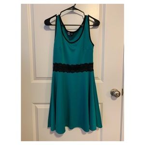 Vibe Sportswear Teal Dress with Black Lace Waist